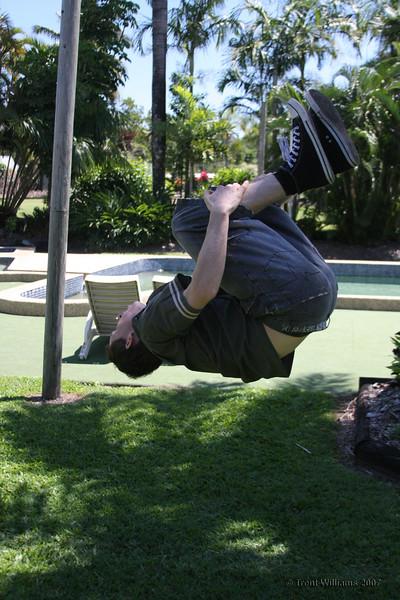 Luke doing a back sault like a dancing monkey :)