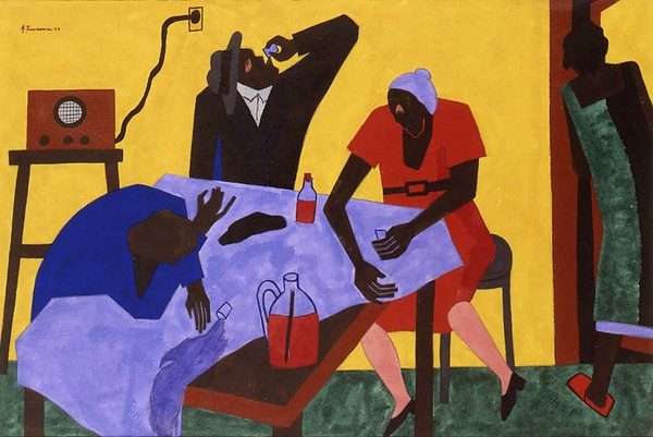 "Jacob Lawrence, ""You Can Buy Bootleg Whiskey for Twenty-Five Cents a Quart"" (1943)"