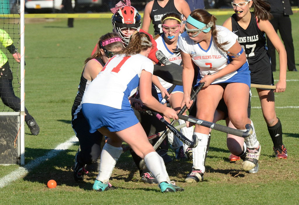 . Ed Burke - the Saratogian South High\'s Emily Sharpe (7) scores during Tuesday\'s varsity field hockey semi-final win over Glens Falls at South Glens Fall High School.
