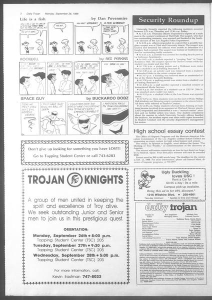 Daily Trojan, Vol. 107, No. 14, September 26, 1988