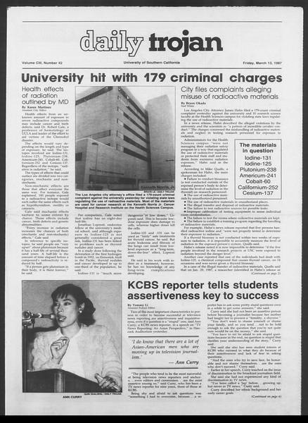 Daily Trojan, Vol. 103, No. 42, March 13, 1987
