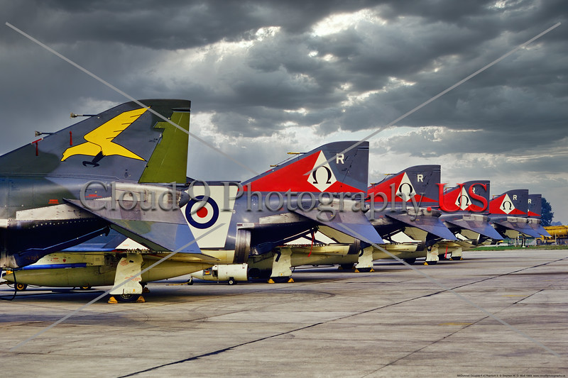 TAIL-F-4II 001 A line up of McDonnell Douglas F-4 Phantotm IIs, British Royal Navy, Sqds 767 and 892, 1969 Yeoviton, military airplane picture by Stephen W. D. Wolf     53_8019     Dt.JPG