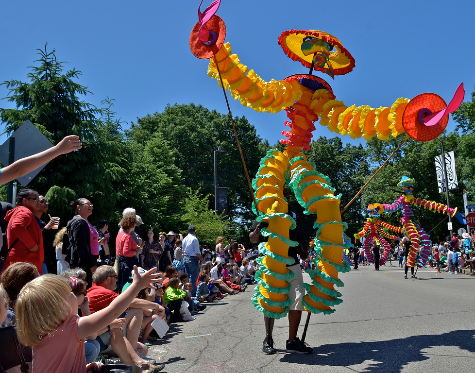 . Giant puppets a hit at the Cleveland Museum of Art 25th annual Parade the Circle  in University Circle in 2014. This year\'s parade is June 9. Circle Village events are 10 a.m. to 4 p.m., and the parade steps off at noon. For more information, visit www.clevelandart.org/events/special-events/parade-the-circle/about. (News-Herald file)
