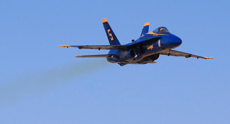 Lead soloist C.J. Simonsen on the highest speed pass of the day. Fellow photographer Scott Meyer and I estimated his altitude above ground at less than 150 feet. Blue Angels are restricted to 700 MPH top speed at public airshows, and I suspect we got everything he was allowed to give us.