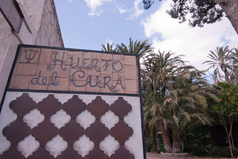 Sign to Hotel Huerta del Cura in Elche, Spain