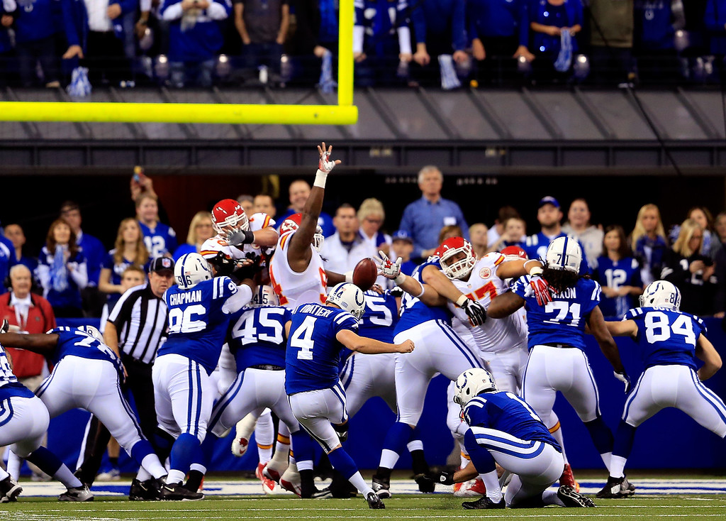 . INDIANAPOLIS, IN - JANUARY 04: Adam Vinatieri #4 of the Indianapolis Colts kicks an extra point against the Kansas City Chiefs during a Wild Card Playoff game at Lucas Oil Stadium on January 4, 2014 in Indianapolis, Indiana.  (Photo by Rob Carr/Getty Images)