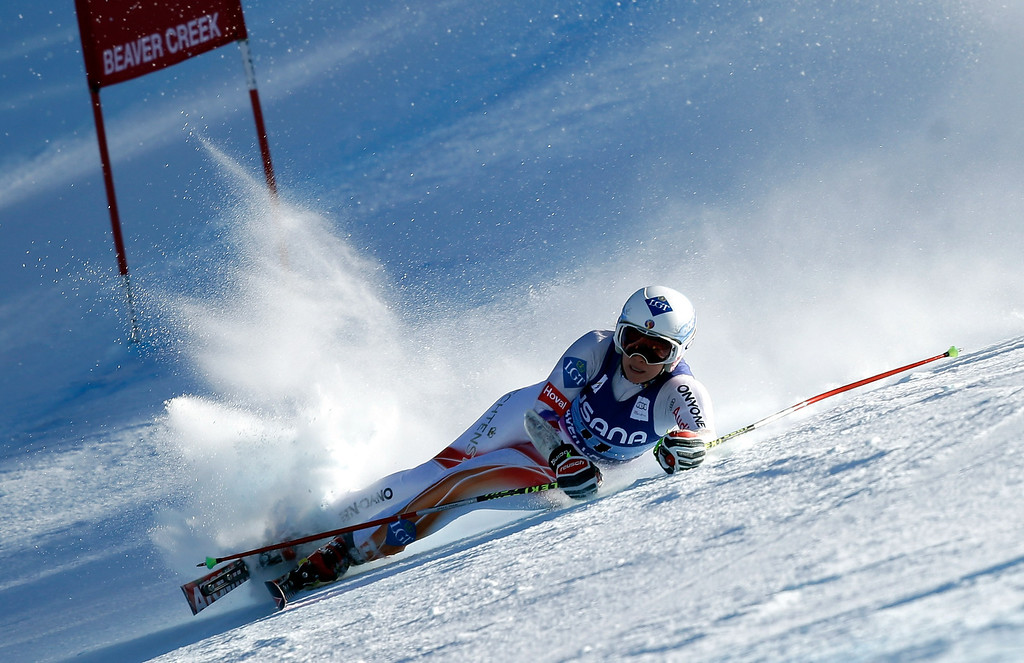 . Tina Weirather of Liechtenstein crashes during the FIS Beaver Creek Ladies\' Super G World Cup Race on November 30, 2013 in Beaver Creek, Colorado.  (Photo by Ezra Shaw/Getty Images)