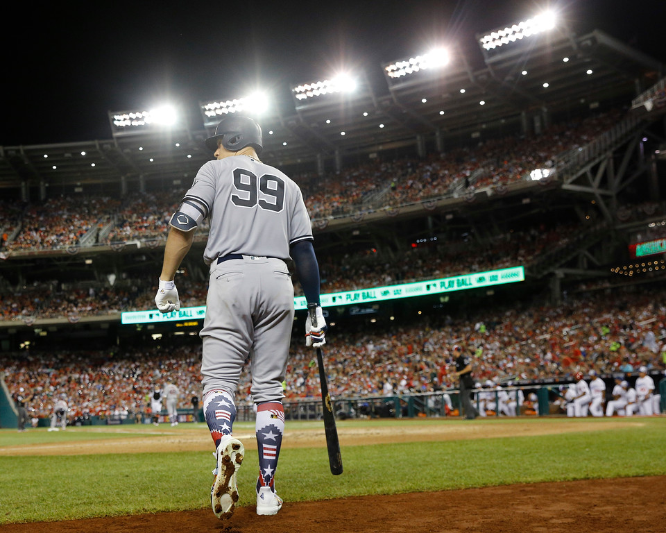 . New York Yankees Aaron Judge (99) walks out to bat during the sixth inning at the Major League Baseball All-star Game, Tuesday, July 17, 2018 in Washington. (AP Photo/Patrick Semansky)