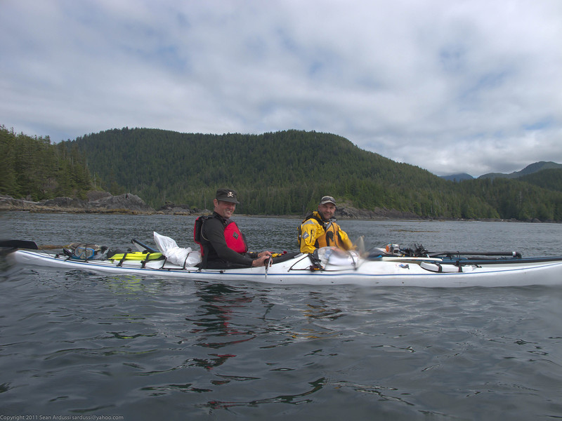 Duncan and Peter on our first full paddle day heading to the Bunsby Islands