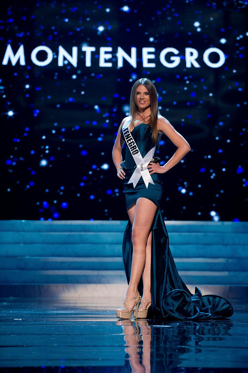 . Miss Montenegro 2012 Andrea Radonjic competes in an evening gown of her choice during the Evening Gown Competition of the 2012 Miss Universe Presentation Show in Las Vegas, Nevada, December 13, 2012. The Miss Universe 2012 pageant will be held on December 19 at the Planet Hollywood Resort and Casino in Las Vegas. REUTERS/Darren Decker/Miss Universe Organization L.P/Handout