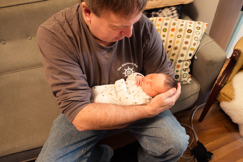 First day at home, Lucy meets Grandpa Mike (01/22/16)