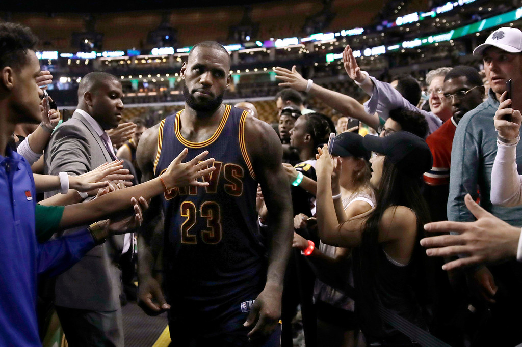 . Cleveland Cavaliers forward LeBron James leaves the court after Game 1 of the team\'s NBA basketball Eastern Conference finals against the Boston Celtics, Wednesday, May 17, 2017, in Boston. The Cavaliers won 117-104. (AP Photo/Charles Krupa)