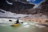 A morning kayaking session at Cavell Pond, Jasper National Park, Alberta, Canada.