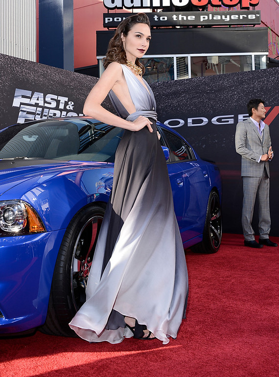 ". Actress Gal Gadot arrives at the LA Premiere of the ""Fast & Furious 6\"" at the Gibson Amphitheatre on Tuesday, May 21, 2013 in Universal City, Calif. (Photo by Dan Steinberg/Invision/AP)"