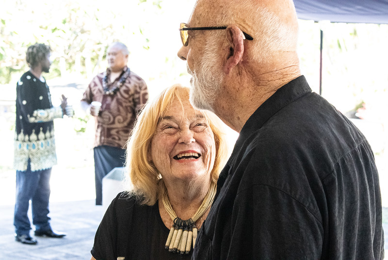 She shares a laugh with her former Pastor David Rees Thomas.  Why is she so happy?   She trusts in the Lord to give her His joy and happiness.  That is why she is so happy.