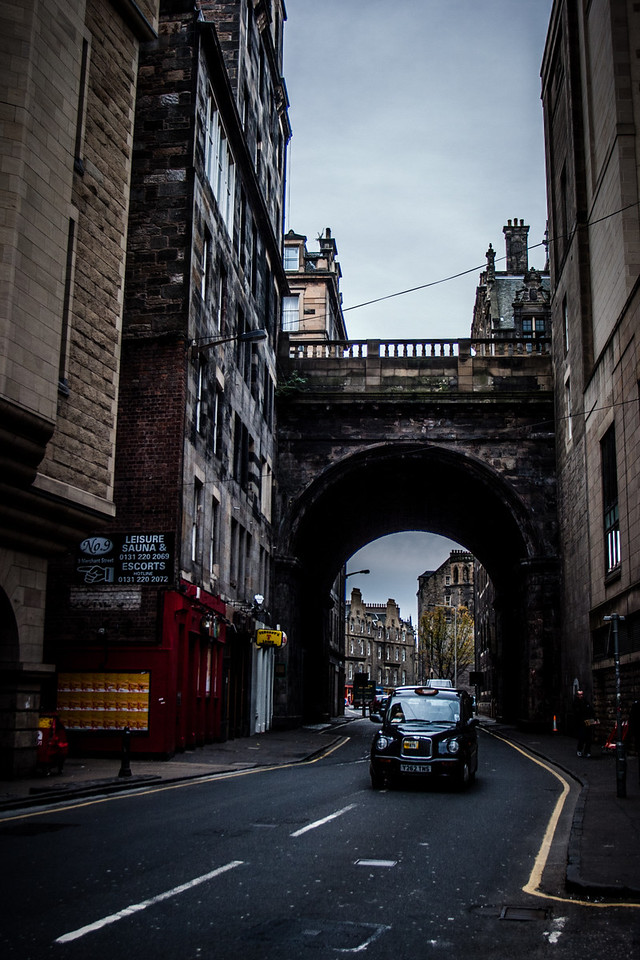 Edinburgh, Scotland<br /> The Cowgate running beneath the George IV Bridge.