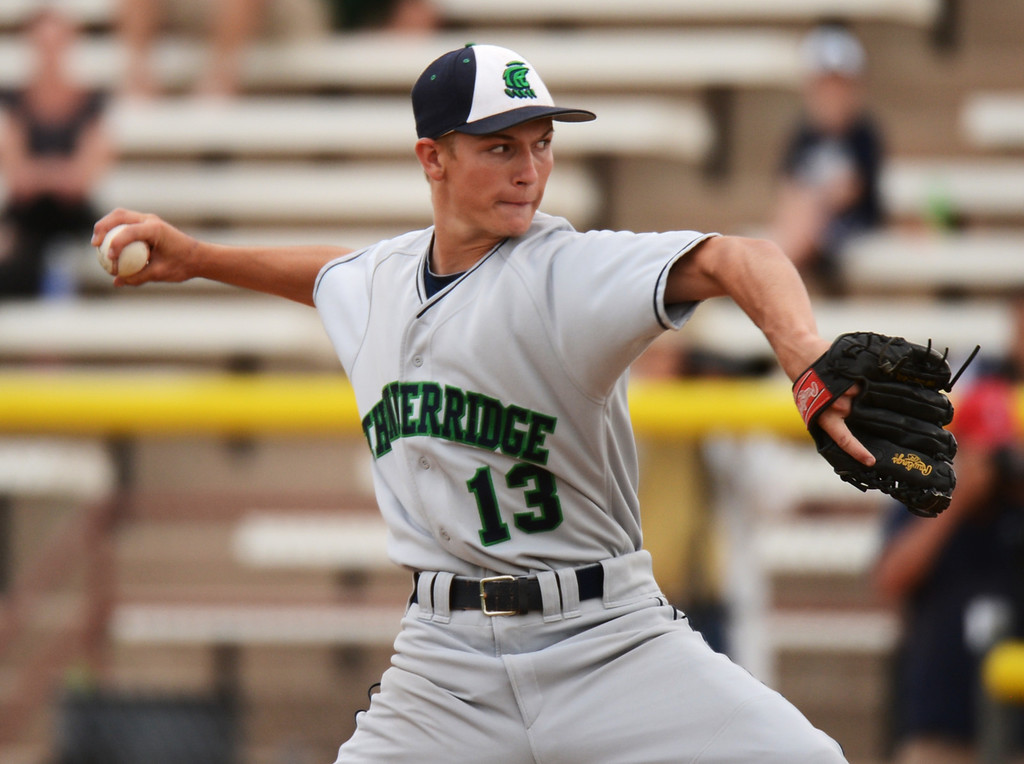 . DENVER, CO. - MAY 24 :Tyler Loptien of ThunderRidge High School is pitching 7th inning of  semifinal round of 5A State Championships baseball game against Cherry Creek High School at All City Field. Denver, Colorado. May 24, 2013. ThunderRidge won 5-1. (Photo By Hyoung Chang/The Denver Post)