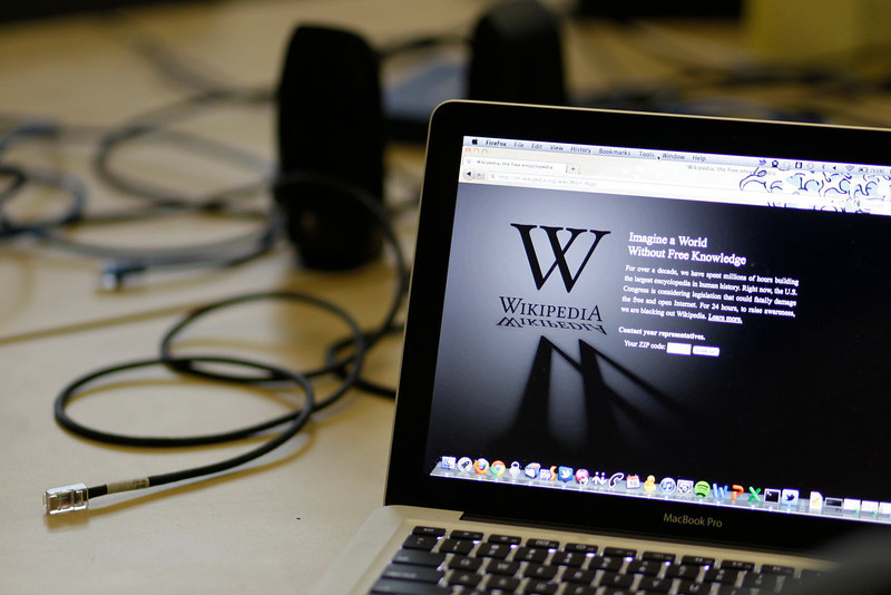 ". A blackout landing page is displayed on a laptop computer screen inside the ""Anti-Sopa War Room\"" at the offices of the Wikipedia Foundation in San Francisco, Wednesday, Jan. 18, 2012. January 18 is a date that will live in ignorance, as Wikipedia started a 24-hour blackout of its English-language articles, joining other sites in a protest of pending U.S. legislation aimed at shutting down sites that share pirated movies and other content. The Internet companies are concerned that the Stop Online Piracy Act in the House and the Protect Intellectual Property Act under consideration in the Senate, if passed, could be used to target legitimate sites where users share content. \""SOPA Debate\"" ranked as Google\'s fourth most searched trending event of 2012. (AP Photo/Eric Risberg)"