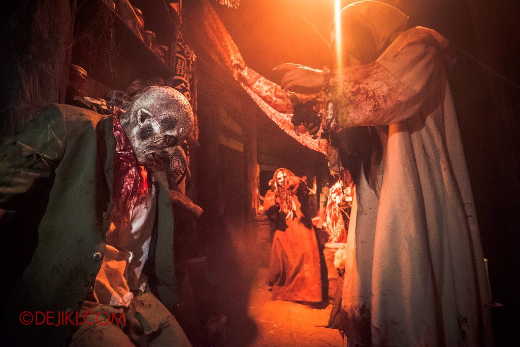 Halloween Horror Nights 7 Behind the Scenes: A Tour Inside HEX haunted house, Voodoo scare actor trio