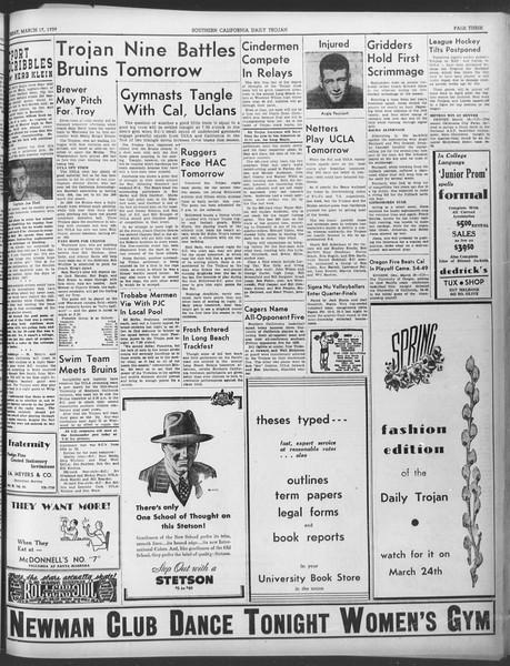 Daily Trojan, Vol. 30, No. 100, March 17, 1939