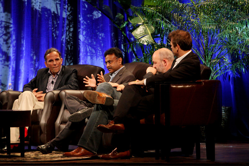 """Clouds 2.0: Utility Computing for Consumers and the Enterprise"" (L-R): Russ Daniels, VP and CTO, Hewlett-Packard; Amitabh Srivastava, SVP, Microsoft; Werner Vogels, CTO and VP, Amazon.com; and Rowan Trollope, SVP, Symantec"