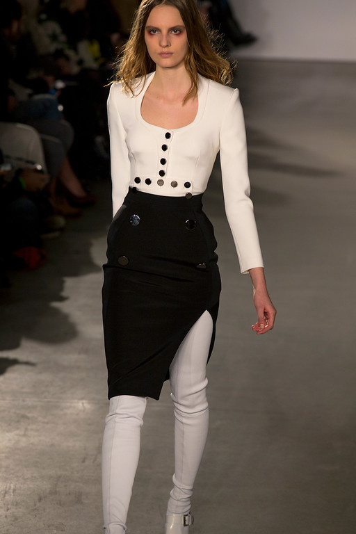 . A model walks the runway at the presentation of the Altuzarra Fall 2013 fashion collection during Fashion Week, Saturday, Feb. 9, 2013, in New York. (AP Photo/Craig Ruttle)