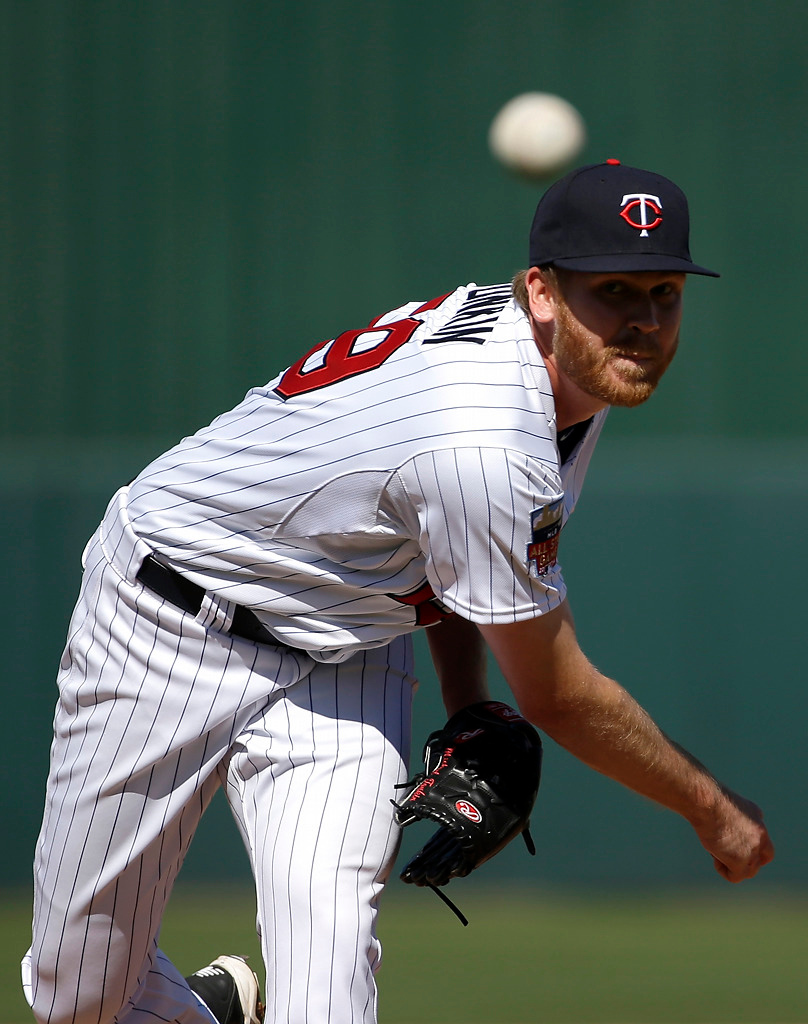. Minnesota Twins pitcher Michael Tonkin delivers a warm-up throw in the fourth inning of an exhibition baseball game against the Boston Red Sox, Saturday, March 1, 2014, in Fort Myers, Fla. (AP Photo/Steven Senne)