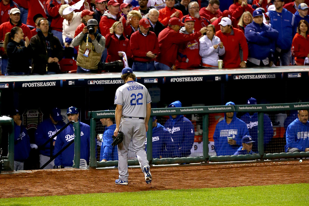 . ST LOUIS, MO - OCTOBER 18:  Pitcher Clayton Kershaw #22 of the Los Angeles Dodgers is pulled in the fifth inning against the St. Louis Cardinals in Game Six of the National League Championship Series at Busch Stadium on October 18, 2013 in St Louis, Missouri.  (Photo by Ed Zurga/Getty Images)