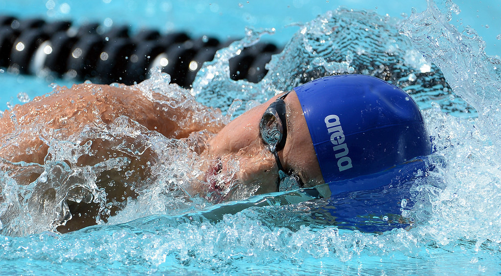 . Rowland\'s Michael Wang competes in the 200 yard freestyle during the Division 2 CIF Southern Section Swimming Championships in the Riverside Aquatics Complex at Riverside City College in Riverside, Calif., on Saturday, May 17, 2014.  (Keith Birmingham/Pasadena Star-News)