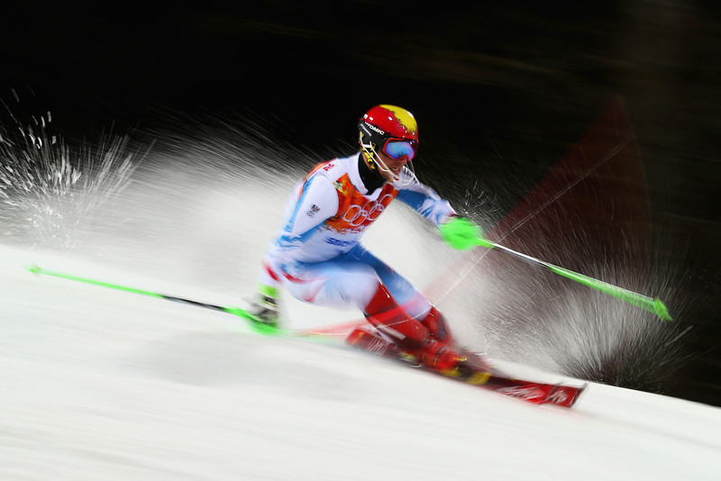 . Marcel Hirscher of Austria in action in the second run during the Men\'s Slalom during day 15 of the Sochi 2014 Winter Olympics at Rosa Khutor Alpine Center on February 22, 2014 in Sochi, Russia.  (Photo by Clive Rose/Getty Images)