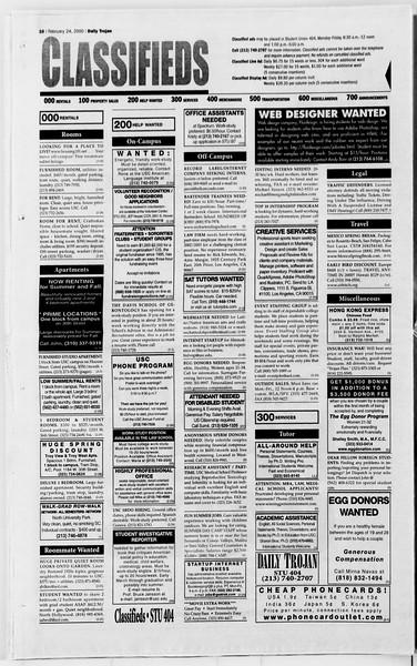 Daily Trojan, Vol. 139, No. 29, February 24, 2000