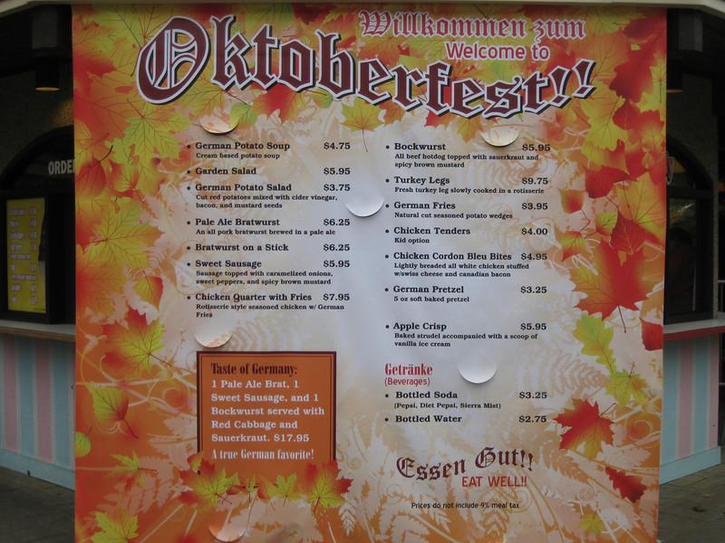 Oktoberfest menu sign.