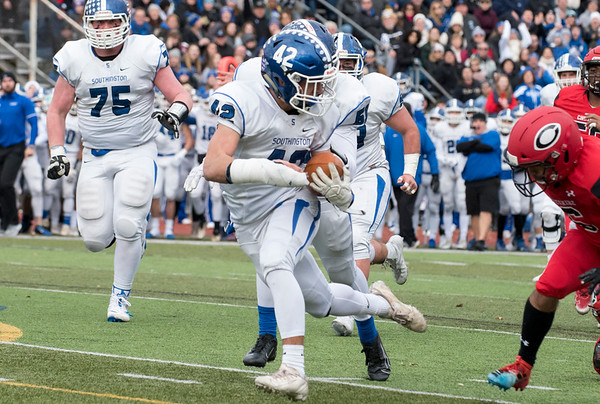 11/28/19 Wesley Bunnell | Staff Southington football vs Cheshire in the Apple Valley Classic on Thanksgiving morning at Cheshire High School. Dillon Kohl (42) on a touchdown run.