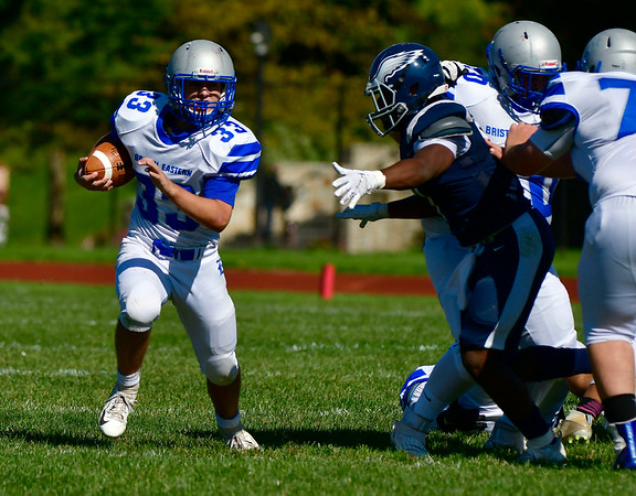 10/5/2019 Mike Orazzi | StaffrBristol Eastern's Alexander rMarshall (33) during Saturday's football game with Hartford Public in Hartford.