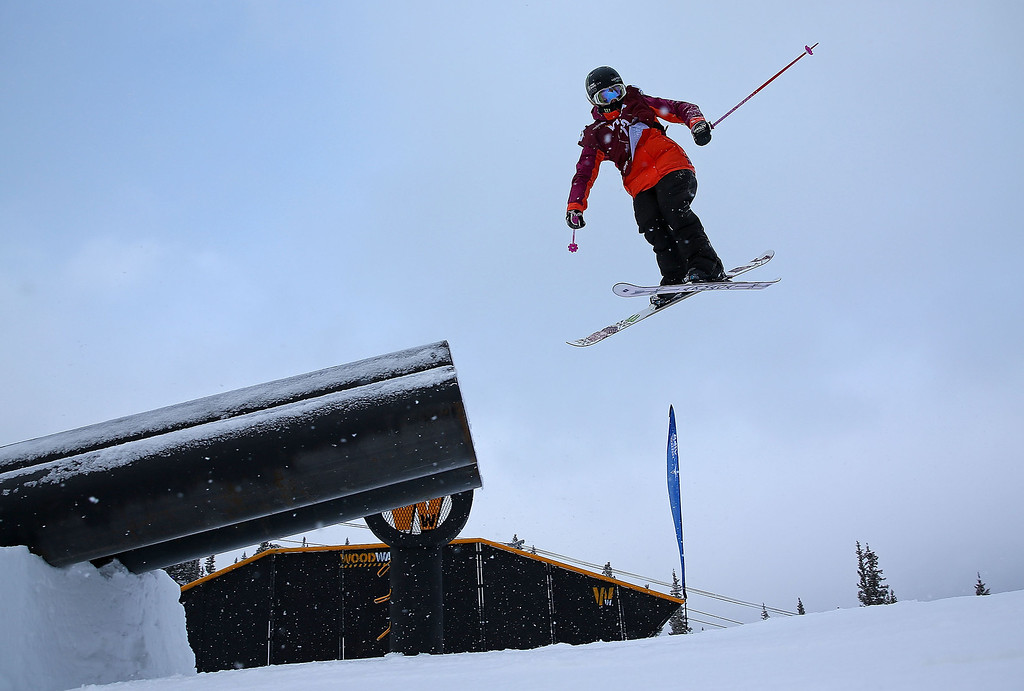 . Maggie Voisin competes during qualifying for the women\'s FIS Ski Slopestyle World Cup at U.S. Snowboarding and Freeskiing Grand Prix on December 20, 2013 in Copper Mountain, Colorado.  (Photo by Mike Ehrmann/Getty Images)