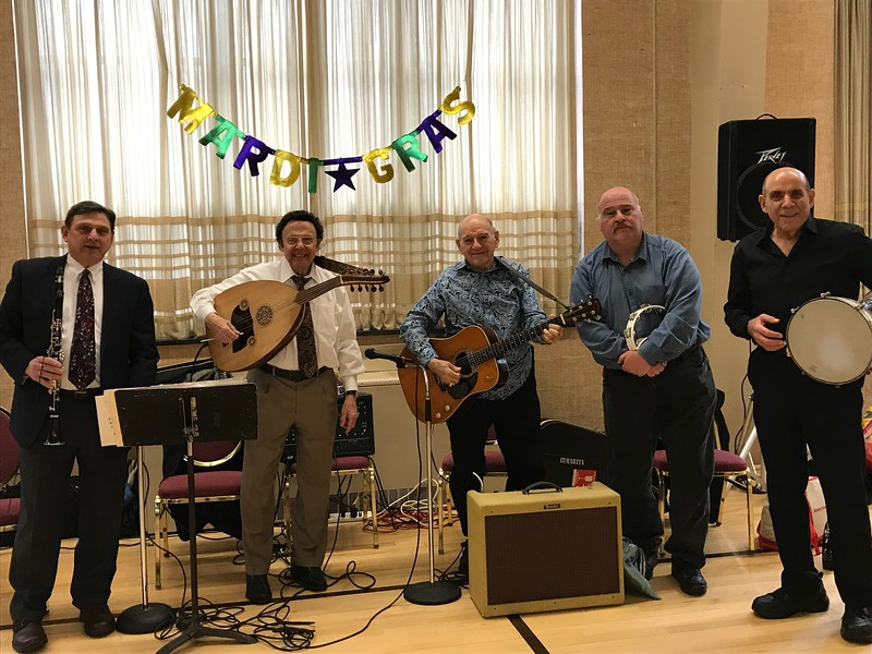 Greg Krikorian Ensemble featuring left to right, Mark DerMugrditchian, clarinet; Greg Krikorian, oud and vocals; George Righellis, guitar and vocals; Steve Surabian, tambourine; and Charlie Dermenjian, dumbeg.