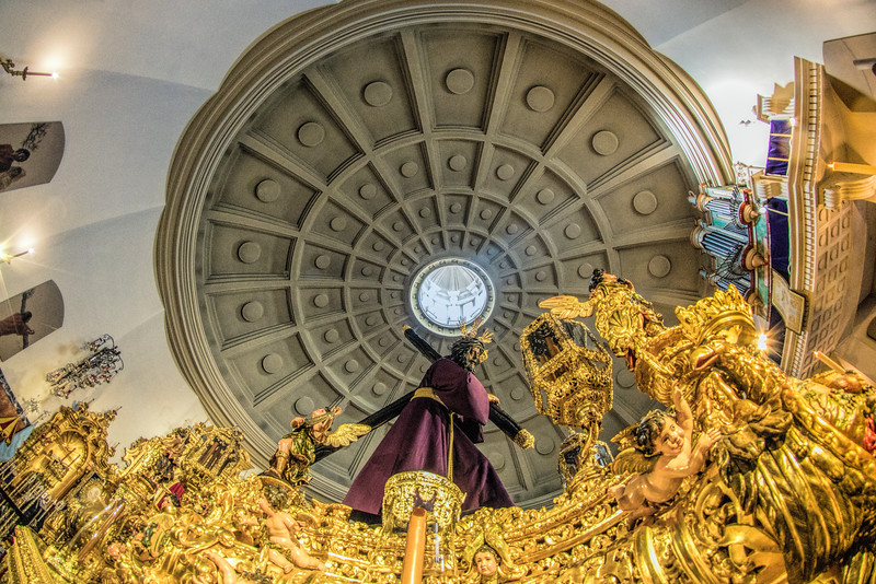 Jesus del Gran Poder (Jesus of the Great Power), a 17th century carving by Juan de Mesa, on the float for the Good Friday procession. Seville, Spain. Fisheye shot.