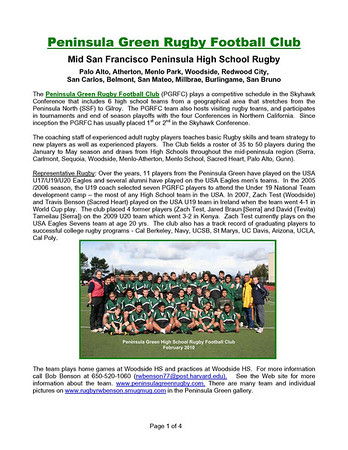 Rugby - Peninsula Green HS Rugby Club - Who is Pen Green?