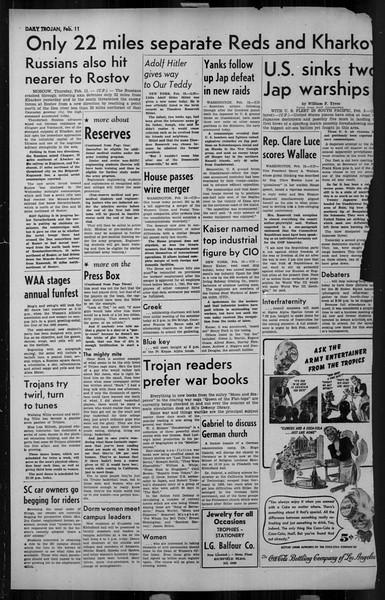 Daily Trojan, Vol. 34, No. 82, February 11, 1943