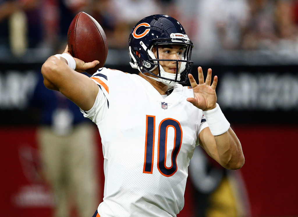 . Chicago Bears quarterback Mitchell Trubisky (10) warms up prior to a preseason NFL football game against the Arizona Cardinals, Saturday, Aug. 19, 2017, in Glendale, Ariz. (AP Photo/Ross D. Franklin)