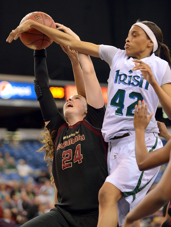. Alemany\'s Hannah Johnson and Ashanti Coleman of Sacred Heart Cathedral battle for the ball during the Div III 2013 CIF State Basketball Championship game at the Sleep Train Arena, in Sacramento, Ca March 22, 2013.  Alemany won the game 46-40.(Andy Holzman/Los Angeles Daily News)