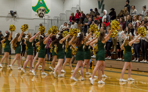 Vashon Island High School Winter Cheer, Crowd and Band at Basketball 2018