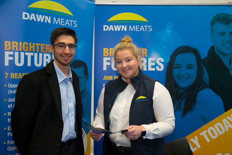 09/03/2019. Pictured at the Waterford Institute of Technology Science Careers Day.  Pictured are Felipe Garduno, Food Science Student from Waterford city with Eleanor Nolan Agriculture graduate Dawn Meats. Picture: Patrick Browne