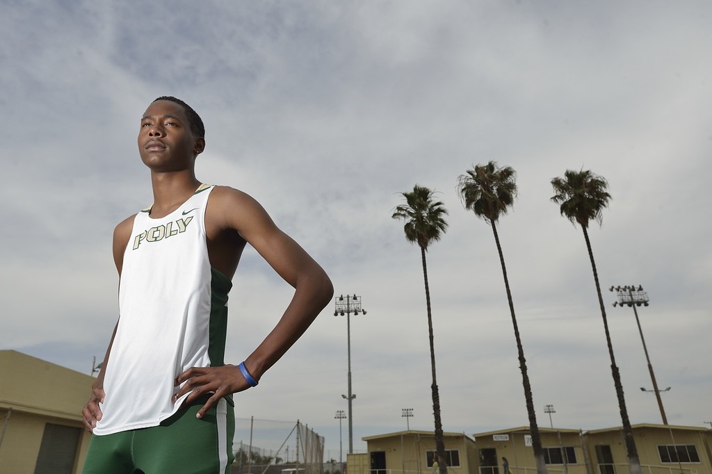 . LONG BEACH, CALIF. USA -- Press-Telegram boys All-Area Track Athlete of the Year Vincent Calhoun of Poly High School in Long Beach, Calif., on June 11, 2013. Photo by Jeff Gritchen / Los Angeles Newspaper Group