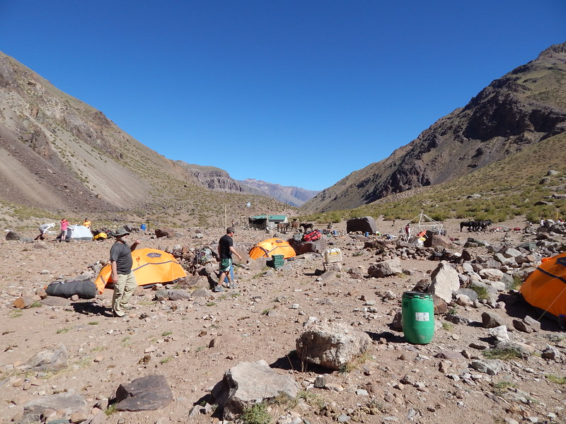 Five hour hike to Pampa de Lenas Camp Site 9,200 feet.