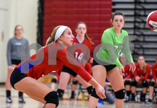 10/18/17 Wesley Bunnell | Staff Berlin girls volleyball vs New Britain on Wednesday evening at New Britain High School. Berlin's Isabella Nardi (3) and Libby Aroian (77).