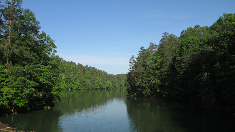 North of the dam is Hiwassee Lake which is much, much larger than the view from this spot suggests...