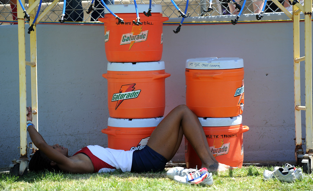 . An athlete cools off after competing during the Mt. SAC Relays in Hilmer Lodge Stadium on the campus of Mt. San Antonio College on Saturday, April 20, 2012 in Walnut, Calif.    (Keith Birmingham/Pasadena Star-News)