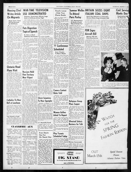 Daily Trojan, Vol. 31, No. 99, March 07, 1940