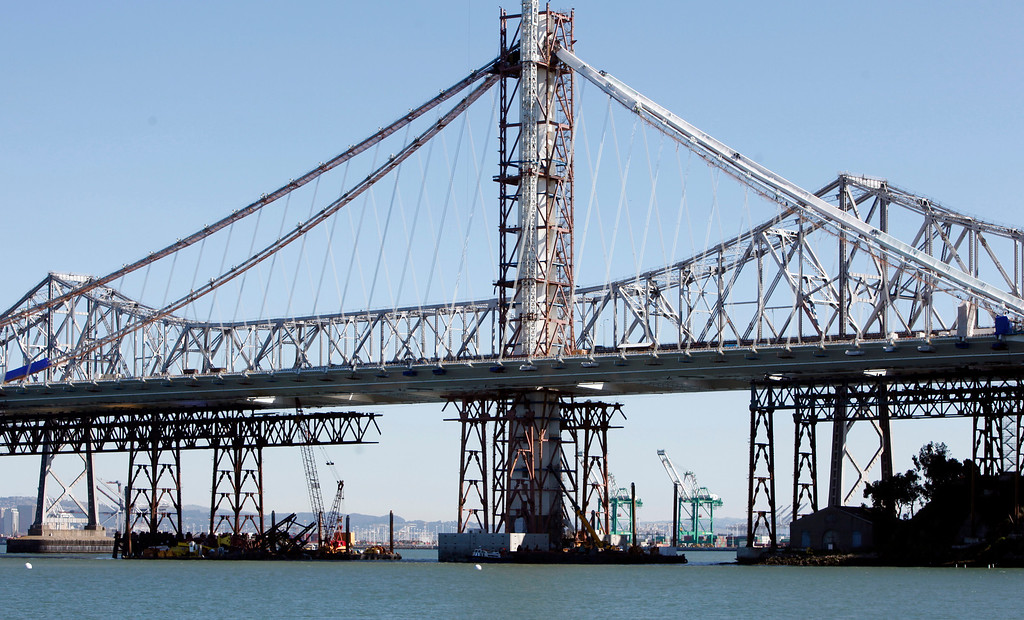 . A barge crane removing falsework from the new Bay Bridge project toppled near Treasure Island onThursday, Feb. 21, 2013 in San Francisco.  (Karl Mondon/Staff)